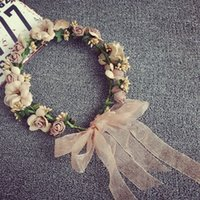 Wholesale wreath garland sale for sale - Group buy Hot Sale Fashion Women Girl Party Wedding Flower Wreath Crown Headband Floral Garlands Hair band Hair Accessories