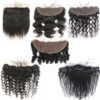Wholesale bleached knots curly human hair for sale - Group buy Pre plucked Ear To Ear lace Frontal Closure Kinky Curly Body Wave Bleached Knots With Baby Hair Brazilian Virgin Hair Human Hair Frontal