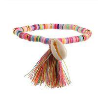 pulseras con cuentas de goma al por mayor-Venta caliente colorido borla y concha encantos pulsera de cuentas de goma Femme pulsera hecha a mano Boho para mujeres DIY fabricación de joyas regalo GB