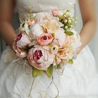 mor pembe buket toptan satış-Pembe Mor Şakayık Renkli Yapay Çiçekler Gelin Buketleri Stokta Ucuz Düğün Dekorasyon Çiçekler Gelinler Holding Çiçek AL2151