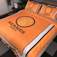 ropa de cama europea de lujo al por mayor-Ropa de cama de lujo Juego de edredones de cama de marca Juego de cama King de diseño Juego de cama de cuatro piezas europeo y americano