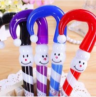 Wholesale free christmas stationery resale online - Best Selling Korean stationery clown Christmas Snowman hat ballpoint pen cartoon umbrella funny facial pen029