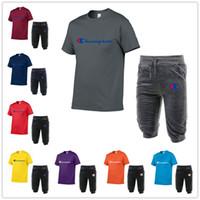 ingrosso corti pantaloni da jogging-Campione del Mens di marca del progettista tuta corta T Shirt + Capri dei pantaloni 2 Shorts piece Insieme Moda Uomo Jogger sportivo C62603