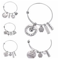 Wholesale inspire pendants resale online - Letters Bracelet Teacher s Day Gift Charms Bangle Love Inspire Teach Bracelets Charm pendant Teacher Jewelry Party Favor GGA2004