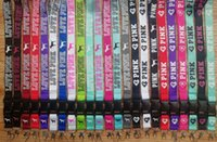 Wholesale id cards holder lanyard resale online - Cell phone lanyard Straps Clothing Sports brand for Keys Chain ID cards Holder Detachable Buckle Love PINK Lanyards