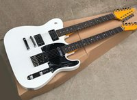 Wholesale double necks guitars resale online - 12 strings double neck electric guitar with srosewood fretboard Yellow blue white natural colors available Can be customized