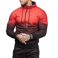 3d falten großhandel-Mens Fashion Frühling Hiphop Trainingsanzüge Lässige Sport Tops Gestreiften Falten 3D Druck Gradienten Männlichen Hoodie