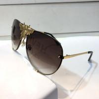gafas de animales al por mayor-Gucci GG2238 nueva moda mujer diseñador gafas de sol metal piloto animal marco piernas con forma de serpiente con diamantes gafas de protección de calidad superior