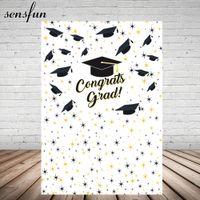 Wholesale graduation backdrop paintings resale online - Sensfun Congrats Grad Photography Backgrounds Bachelor Cap Little Stars White Graduation Backdrop x7FT Vinyl
