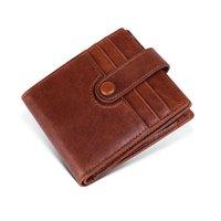 кофейные визитки оптовых-Мужчины RFID кошелек из натуральной кожи коровьей бизнес маленький короткий бумажник ID / держатель кредитной карты черный коричневый кофе