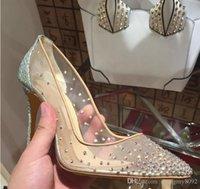 nouvelles semelles de talon achat en gros de-2019 nouveau printemps été élégantes styles femmes chaussures strass talons hauts cristaux bout pointu maille Escarpins chaussures femme semelle rouge chaussures de mariage