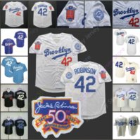Wholesale stitched baseball jersey resale online - 2019 Brooklyn Dodgers Jackie Robinson Jersey th Patch Home Away All Stitched Black Baby Blue White Men Women Youth S XL