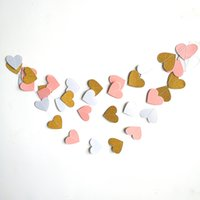 Wholesale white paper hearts resale online - 5m Wedding Garland Pink White Gold Heart Garland Banners Photo Prop Paper Valentines Day Wedding Party Decoration