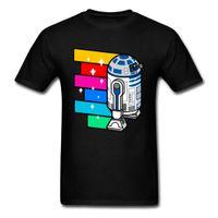 camisetas de dibujos animados pop al por mayor-Arte pop R2D2 Zoom Harajuku T Shirt 2018 Custom Men T-shirt Hip Hop Robot de colores Impreso adulto de dibujos animados camiseta divertida