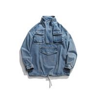 ingrosso tasche fortunate-Mens Fashion Street allentato Giacca di jeans Cappotti fortunato dei cinque Lettera Stampa Blue Coat Primavera Autunno Inverno tasche cargo Giacche