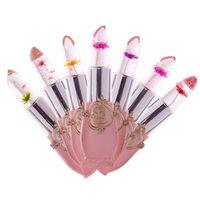 flower jelly lipstick оптовых-Бесплатная доставка DHL увлажняющий прозрачный цветок помада косметика водонепроницаемый изменение температуры желе помада бальзам