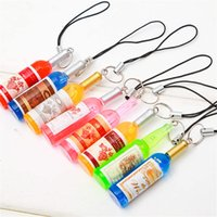 Wholesale small mobiles resale online - Cute wine bottle mobile phone chain mobile phone pendant creative gift exquisite small bottle decoration