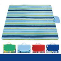 mantel de picnic plegado al por mayor-21 colores 145 * 180 cm Al aire libre Picnic camping almohadillas de camping portátil estera de playa Estera de playa Oxford tela niños dormir colchonetas CCA11706 10 unids