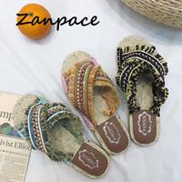 ruban de paille rose achat en gros de-2019 femmes bohémiennes pantoufles en lin rayé ruban sandales en liège plates antidérapantes bascule flop maison chaussures casual paille pantoufle