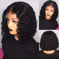 Wholesale french curls virgin hair resale online - Short Bob Glueless Lace Front Wigs for Women Natural Curl Peruvian Virgin Human Hair Wigs with Baby Hair inch Black Lace Wigs