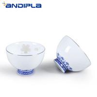 conjunto chinês do chá do fu do kung venda por atacado-65ml Boutique pintado de prata cereja Teacup azul e branco da porcelana cerâmica chinês Kung Fu Tea Set Tea Cup Mestre Cup Tea bacia