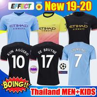 aguero hombre ciudad al por mayor-Top de calidad de Tailandia 19 20 MANCHESTER CITY camiseta de fútbol G.JESUS DE BRUYNE KUN AGUERO camisetas 2019 2020 KIT camiseta de KIT de adultos y niños Soccer Jerseys