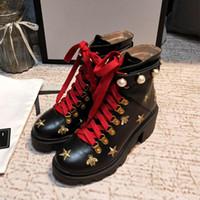 reiner oberschenkelstiefel großhandel-Neue Ankunft Marke Frauen Stiefel Luxus Designer Sexy Starke Ferse Wüste Plattform Boot Bee Star Echtes Leder Winter Schuhgröße 35-41