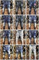 Wholesale trouser pants online - Top Quality Luxury Brand Designer D2 Men Denim Jeans Embroidery Pants Fashion Holes Trousers Italy Size