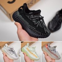 zapatos de bebé crema al por mayor-Adidas Yeezy 350 V2 La mejor calidad 35O Baby Kids Running Shoes Cream White Semi Frozen Yellow Boys Girls Designeshoes Sport Sneakers Size 26-35
