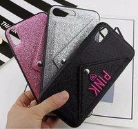 teléfonos celulares rosa al por mayor-PINK Glitter Bling Funda de TPU Suave Para Iphone XR X XS Máx. 8 7 6 6S Plus Brillante Tarjetas Sparkle Holder Soporte para Teléfono Celular Cubierta de Piel Moda 50pcs