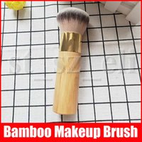 visage cosmétiques en poudre en vrac achat en gros de-Pinceaux de maquillage de bambou avec la marque Crème professionnelle Puff visage en vrac Réglage poudre cosmétiques Outils Brosse Beauté