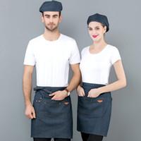 hotel aventais venda por atacado-Cintura Denim Avental para Catering Baking Bar Hotel Garçom Azul Cozinha Metade Avental Mulheres Homens Cozinhar Aventais Chef Delantal