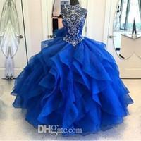 zip up tops achat en gros de-Corset de perles en cristal de luxe haut cou haut Organza couches Royal Blue Quinceanera robes princesse robes de bal à lacets Sweet 15