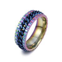 zincir düğün bandı toptan satış-Paslanmaz Çelik Spin Zincir Yüzük Şanslı Döndür Yüzük Band Yüzükler Alyans Erkek Kadın Moda Takı Olacak ve Sandy bırak Gemi 080461