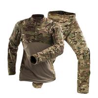 combinaison d'entraînement en coton achat en gros de-Hommes En Plein Air De Combat Formation À Manches Longues Tactique Uniforme Costumes Armée Fans CS Camping Coton Camouflage Shirt Pantalon Ensemble