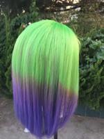 6a ses tüyü toptan satış-6A yeşil + gri + mavi Ombre renk Doğal düz Kabarcık saç Tam dantel ön 360 dantel Ön Peruk Perulu İnsan Saç Peruk 100% Bakire saç