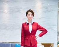 jaqueta de uniforme vermelho feminino venda por atacado-Novidade Vermelho Manga Longa Blazers e Jaquetas Casaco de Mulheres Uniformes Formais Estilos de Trabalho Desgaste do Trabalho Outwear Tops Roupas