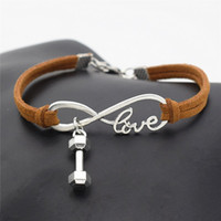 Wholesale vintage brass lobster for sale - Group buy Vintage Weave Brown Leather Suede Rope Bracelets Infinity Love Barbell Dumbbell Sports Fitness Pendant Bangles Women Men Jewelry Accessories
