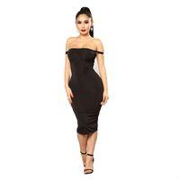дамы короткие платья образы моды оптовых-Мягкие хлопчатобумажные эластичные черные вечерние платья Плюс размер Тощий сексуальный клуб носить платье Сексуальное облегающее платье бедра