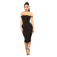 sexy schwarze kleider großhandel-Weiche Baumwolle Stretch Schwarz Party Kleider Plus Size Skinny Sexy Club Wear Kleid Sexy eng anliegende Hüften Kleid
