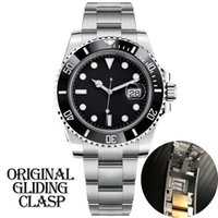 Wholesale mens automatic buckle resale online - luxury mens designer black watch automatic mechanical Ceramic Bezel full Stainless Steel Original Gliding clasp Sapphire ATM waterproof U1