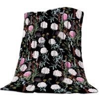 Wholesale black blanket fabric resale online - Soft Warm Coral Fleece Blanket Black Hydrangea Winter Sheet Bedspread Sofa Throw Light Thin Flannel Blankets