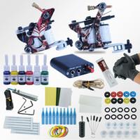 permanente make-up-tinte kits großhandel-Tattoo Machines Power Box Set 2 Pistolen Unsterbliche Farbe Tinten Versorgung Nadeln Zubehör Kits Abgeschlossen Tattoo Permanent Makeup Kit