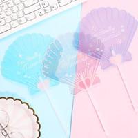 Wholesale hand fans for women resale online - Portable Shell Shape Fans Cartoon Summer Beach Mermaid Hand Fan Birthday Party Favors For Girl Women ZC0921
