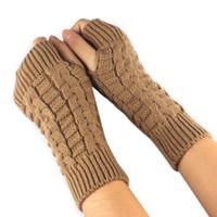 Wholesale hot fingers mittens resale online - Hot Winter Female Hand Arm Crochet Knitted Mittens Fingerless Knitted Wrist Glove half Finger Gloves luvas