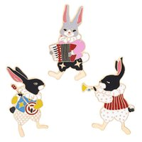 Wholesale accordion plastic resale online - Pins and brooches Musician banjo accordion trumpet rabbit pin Bunny pins Rabbit jewelry Cute kawaii gifts
