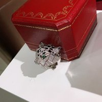 Wholesale silver animal rings for men resale online - Designer fashion S925 sterling silver and cubic zircon stone paved leopard ring K gold plated jewelry for women or men