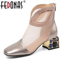 ingrosso stivali in stile euro-Fedonas donne mucca della pelle verniciata Stivaletti 2020 Crystal Mesh Style strass Summer Fashion Euro tallone Zipper Stivali Donna