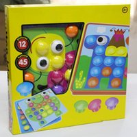 Wholesale mosaic nails for sale - Group buy Kids D Educational Toy Colorful Buttons Assembling Mushrooms Nails Kit Graphic color puzzle Baby Mosaic Picture Board Toy