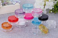 klare zigaretten großhandel-Runde klare Gläser 5G / 5ML mit bunten Deckeln für kleinen Schmuck, Halten / Mischen von Farben, Kunst / vape e-Zigarettenzubehör und andere Bastelartikel